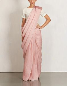 Solid Linen Peach Saree by Anavila