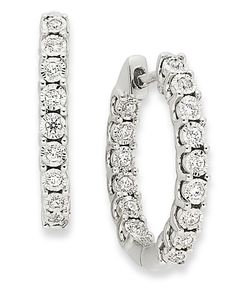 TruMiracle Diamond In-and-Out Hoop Earrings in 10k White Gold (1/4 ct. t.w.)