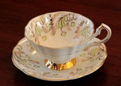 Paragon Mint Green Tea Cup & Saucer with gold by MayberryGraphics