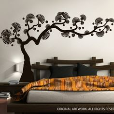 Wall Decals, Wall Stickers by DecalMyWall.com - Modern Bonsai Tree Wall Decal, $89.00 (http://www.decalmywall.com/tree-wall-decals/modern-bonsai-tree-wall-decal/)