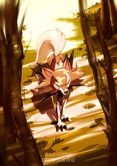 absurdres animal_ears artist_name blue_eyes character_name dated grass highres kenshih lycanroc no_humans pokemon pokemon_(creature) pokemon_(game) pokemon_sm solo tail tree wolf_ears wolf_tail