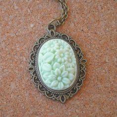 Mint Green Antique Brass Resin Flower Pendant $20