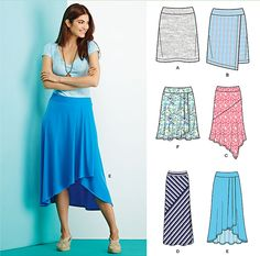 Add a casual knit skirt to your summer wardrobe with Simplicity pattern 1163. Sew it knee length with option of asymmetric faux wrap, midi length or floor length skirt playing with stripes in two directions, or draped knee length or long high low.