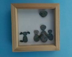Handmade Cornish Pebble Art  Original pebble art with family and dog in deep box wooden frame.
