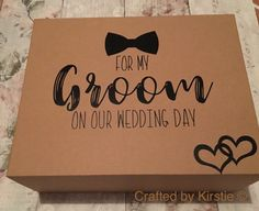 Groom box  left empty for you to fill for you groom. Strong magnetic front flap Made from 1200 micron board Colour: Kraft Size: 220x110x280mm Wedding date can be added if needed but please dont forget to add the date in notes for seller if you want the date adding. SHIPPING: I