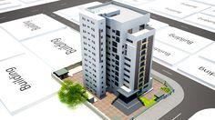 Rendered 11-storey building