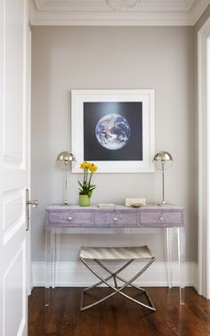 Love this console with acrylic legs and purple top! Anne Hepfer Designs