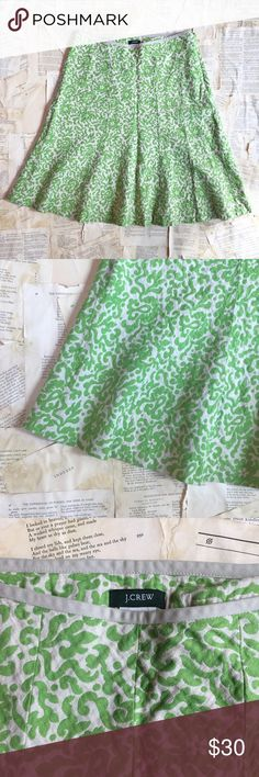 """J. Crew printed skirt J. Crew tan and green printed skirt. In good used condition. Tan and green. A line with flare at bottom. Side zip closure. Material 71% linen, 29^ cotton. Measurements: waist 15@, length 23"""". Flattering and fun. J. Crew Skirts A-Line or Full"""