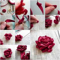 Wonderful Ribbon Embroidery Flowers by Hand Ideas. Enchanting Ribbon Embroidery Flowers by Hand Ideas. Ribbon Embroidery Tutorial, Ribbon Flower Tutorial, Silk Ribbon Embroidery, Embroidery Stitches, Embroidery Designs, Embroidery Supplies, Embroidery Store, Rose Embroidery, Embroidery Techniques