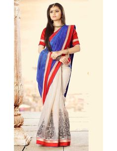 Blue Off White Beautiful Drashti Dhami Bhagalpuri Silk Saree  Rs.1,945 33% OFF