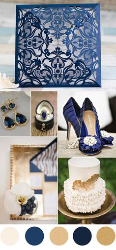 Navy/Royal Blue and Gold Wedding Color Scheme Ideas and Laser-Cut Wedding Invitations Navy Blue And Gold Wedding, Gold Wedding Colors, Royal Blue And Gold, Wedding Color Schemes, Gold Color Scheme, Blue Color Schemes, Navy Colour, Laser Cut Wedding Invitations, Wedding Programs