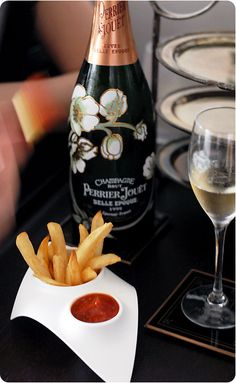 Nothing beats good bubbly and fries with homemade ketchup.