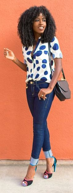 River Island White And Blue Spotted Blouse by Style Pantry