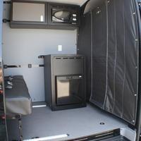 "Townley Sprinter Van 144"" Cargo - Comfort Microwave Wall Cabinet, Wall Storage Cabinets, Base Cabinets, Storage Shelves, Locker Storage, Camper Beds, Led Puck Lights, Bus House, Van Design"