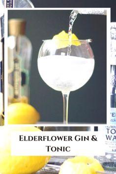 Elderflower Gin and Tonic Gin Cocktail Recipes, Fun Cocktails, Party Drinks, Gin And Tonic Cans, Alcoholic Drinks, Beverages, Gin Lemon, London Dry Gin