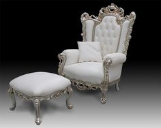 301 Casanova Leather, Classic style armchair covered in leather, baroque style