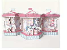 Carousel Box - Merry-Go-Round Box Kit, birthday party favor box perfect for cupcakes - Printable PDF kit - INSTANT download