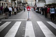 "A penitent takes part in the procession of the ""Santisimo Cristo de la Paciencia"" brotherhood in Santiago de Compostela, northern Spain"