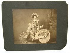 Antique-Photo-Young-Girl-Bonnet-Bike-Bicycle-Decorated-w-Flowers-Mattoon-IL