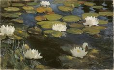 'Lily Pond', Oil by Albert Edelfelt (1854-1905, Finland) - date before or after Monet's Water Lilies paintings?