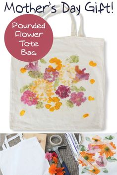 Did you know that you can dye fabric by pounding flowers? This unique flower tote bag makes a perfect Mother's Day gift – and the kids will love creating it!