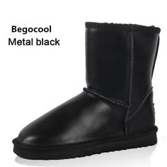 Begocool New Fashion Women Snow Boots Genuine Leather Winter Snow Boots Warm Plush Women Mid-Calf Boots Size 4-13