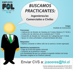buscamos practicantes en www.fol.cl Cl, Cantaloupe, Fruit, Twitter, Breakfast, Food, Engineer, Searching, Activities