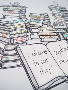 Book Themed Baby Shower Guestbook for 15-40 guests by SaraAart