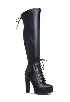 A hiker heeled boot with a lug sole, low platform, non-functional laces, and zipper closure. Wide Width Shoes, Wide Shoes, Womens Boots On Sale, Boots For Sale, Hot Shoes, Crazy Shoes, High Heel Boots, Heeled Boots, Calf Boots