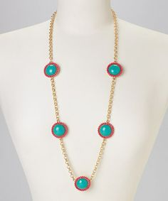 Turquoise & Pink Circle Long Necklace by Occasionally Made #zulily #zulilyfinds