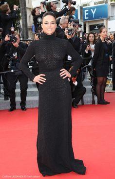 Michelle Rodriguez #dessange #cannes2015 #coiffeurofficiel Cannes Film Festival 2015, Cannes 2015, Star Francaise, Palais Des Festivals, Michelle Rodriguez, Hairdresser, Red Carpet, High Neck Dress, Formal Dresses