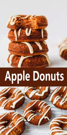 Apple Donuts - healthier oven baked apple donuts, that are low carb, sugar-free, gluten-free, easy to make and smell like fall. Almond Flour Donut Recipe, Apple Donut Recipe, Baked Doughnut Recipes, Easy Donut Recipe, Almond Flour Recipes, Baked Donuts, Apple Recipes, Doughnuts, Free Recipes
