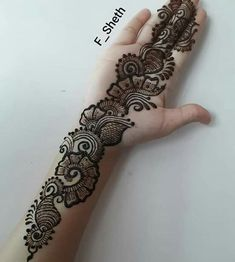 ndo-Arabic Mehendi design: Latest Arabic Mehndi Design for Front Hand Latest Arabic Mehndi Designs, Henna Art Designs, Mehndi Designs For Girls, Mehndi Designs 2018, Mehndi Designs For Beginners, Stylish Mehndi Designs, Mehndi Design Photos, Mehndi Designs For Fingers, Wedding Mehndi Designs