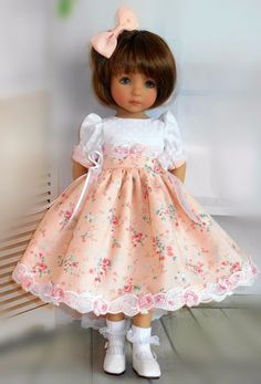 Handmade dress and hair bow fits Dianna Effner little darling doll Sewing Doll Clothes, American Doll Clothes, Baby Doll Clothes, Sewing Dolls, Doll Clothes Patterns, Doll Patterns, Pretty Dolls, Cute Dolls, Beautiful Dolls