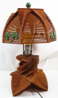 Vintage Tramp Art Clover Leaf Popsicle Stick Wood Ornate Folk Art Table Lamp