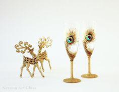 Glitter Peacock Glasses Hand Painted Glasses by NevenaArtGlass, $52.00 #glitter #peacock #wedding #new_year #2014 #wedding_glasses
