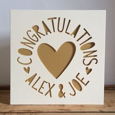 Personalised Engagement Card Wedding by HandCutGreetingCards