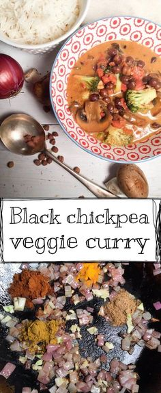 In this curry I've mixed coconut milk with tomatoes and spices, and added veggies and black chickpeas. This is comfort food at its best.
