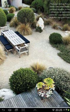 Add trailing Rosemary, juniper or westringa glauca to corners of the property…