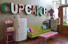 maybe not a cupcake shop, but like the idea for a small business... If I had a cupcake shop, this would be what it looked like...The Vintage Cupcake Co's shop!..... this vibe could carry over into the home...gym,theater,playroom,school room, etc....my mind runs wild with ideas
