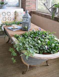 repurposed clawfoot patio coffee table