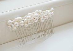 Pettine da sposa capelli perla pezzo sposa Fascinator accessorio bianco Swarovski Cluster perle perline capelli ornamento velo attaccamento pettine in argento