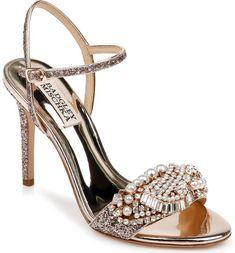 Amazing wedding shoes by Badgley Mischka Bridal Heels, Wedding Heels, Rose Gold Sandals, Strap Sandals, Women's Sandals, Nordstrom Gifts, Embellished Sandals, Badgley Mischka, Designer Shoes