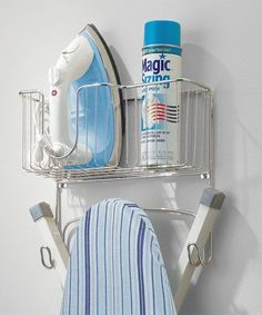 mDesign Metal Wall Mount Ironing Board Holder with Large Storage Basket - Holds Iron, Board, Spray Bottles, Starch, Fabric Refresher for Laundry Rooms - Chrome Ironing Board Storage, Ironing Board Holder, Large Storage Baskets, Storage Containers, Flat Iron Holder, Fabric Refresher, Small Laundry Rooms, Laundry Closet, Laundry Supplies