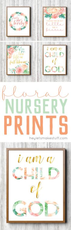$2 downloads - These feminine floral nursery prints are the perfect finishing touch to your little girl's room!
