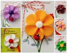 Broșe – flori cu buburuze Polymer Clay Projects, Clay Jewelry, Handmade, March, Pendants, School, Google, Cold, Earrings
