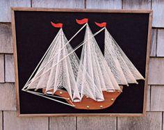 Nautical String Art Sailing Ship Vintage 1970's by Mainetrader