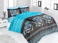 Pościel satynowa Valentini Bianco Limited Edition ROSE TURKUS, 160x200 + 2x 70x80 cm oraz 220x200 + 2x70x80 cm, 100% bawełna.