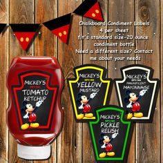 Sale-MICKEY MOUSE CLUBHOUSE Condiment by MyPrintablePartyLine