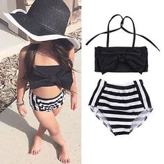 Lovely Baby Kids Girl Bikini Set Swimwear Striped Swimming Bathing Suit Swimsuit